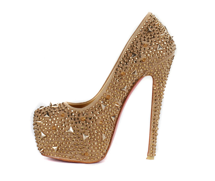2015 new fashion wedding shoes Champagne crystal handmade high heels bridal  shoes Irregular rivets platforms Party Prom pumps-in Women s Pumps from  Shoes on ... 72687478c710