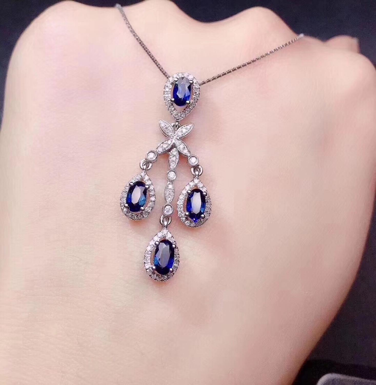 Sapphire Pendant Real Pure 18 K Gold Jewelry AU750 100% Natural Blue Sapphire Gemstones 1.65ct Pendants for Women Fine Necklace