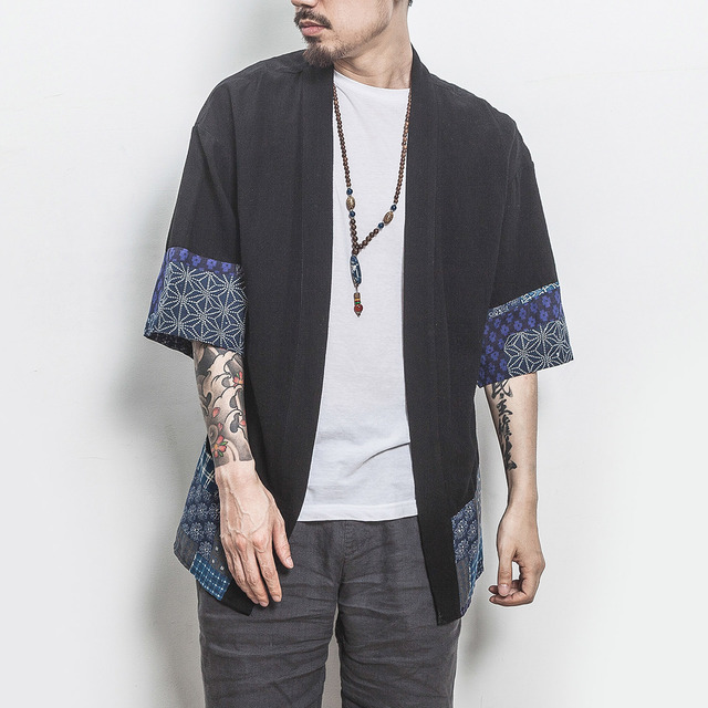 016267c6bc647 Men Chinese Style Fashion Splice Casual Cotton Linen Short Sleeve Shirt  Male Cardigan Kimono Shirt Summer Thin Jacket-in Casual Shirts from Men s  Clothing ...