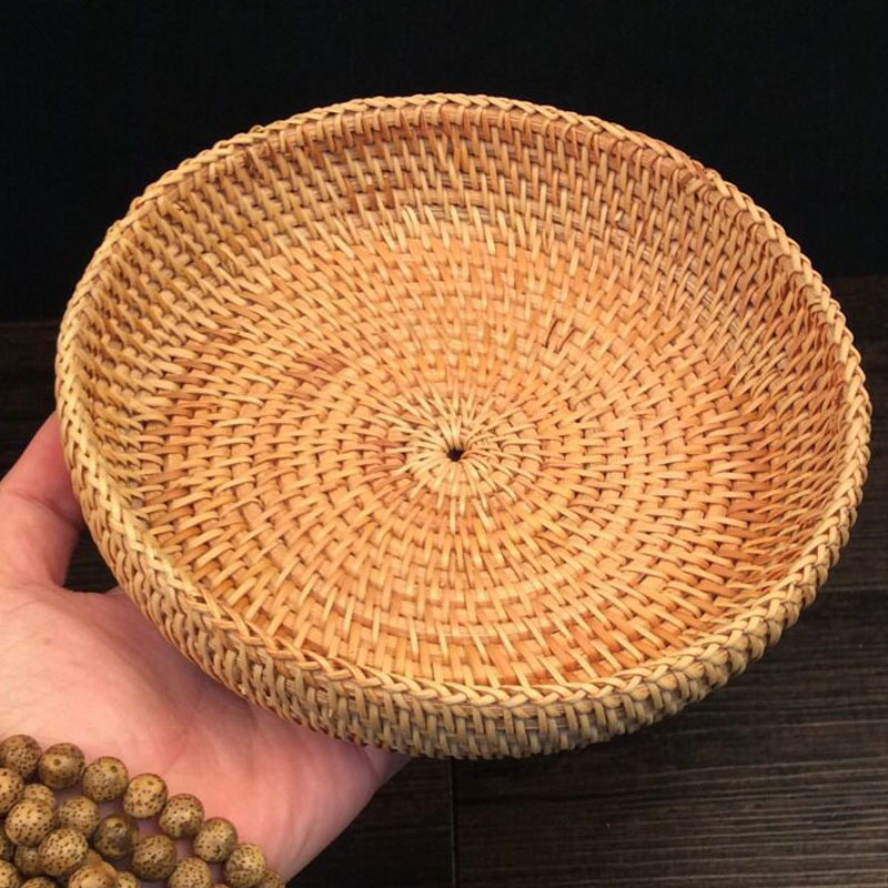 Rattan fruit basket dry trays display decoration dish bowl food bread snacks dessert nuts storage baskets plates