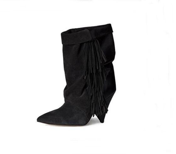 Замшевые ботильоны с бахромой размера плюс 10; пикантные ботильоны со складками на КОНУСНОМ каблуке; женские зимние модельные туфли на низком каблуке; цвет черный, серый