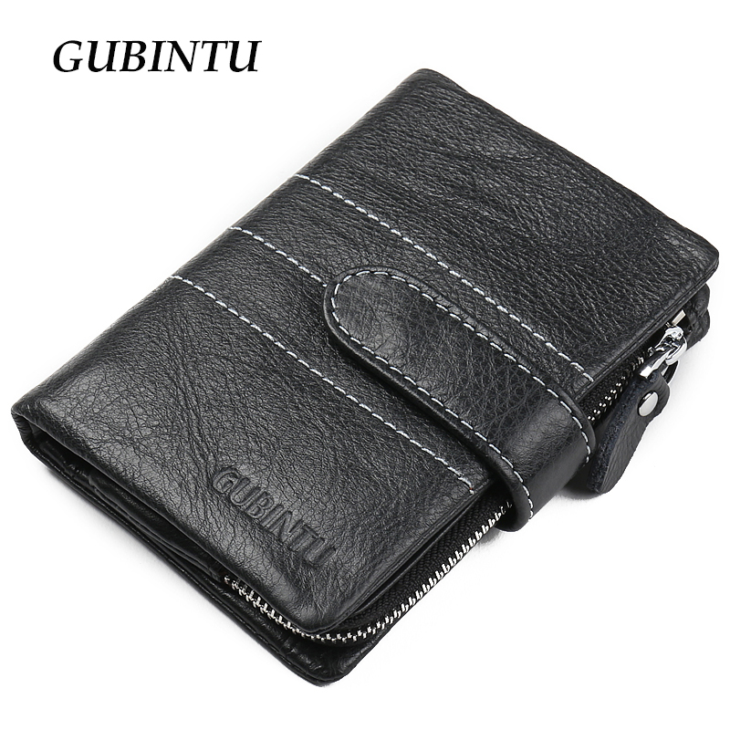 GUBINTU 2018 European and American Style men wallet genuine leather wallets fashion zipper coin pocket purse card holder purses teemzone top european and american fashion evening bag ladies genuine leather long style hasp note compartment wallet j25