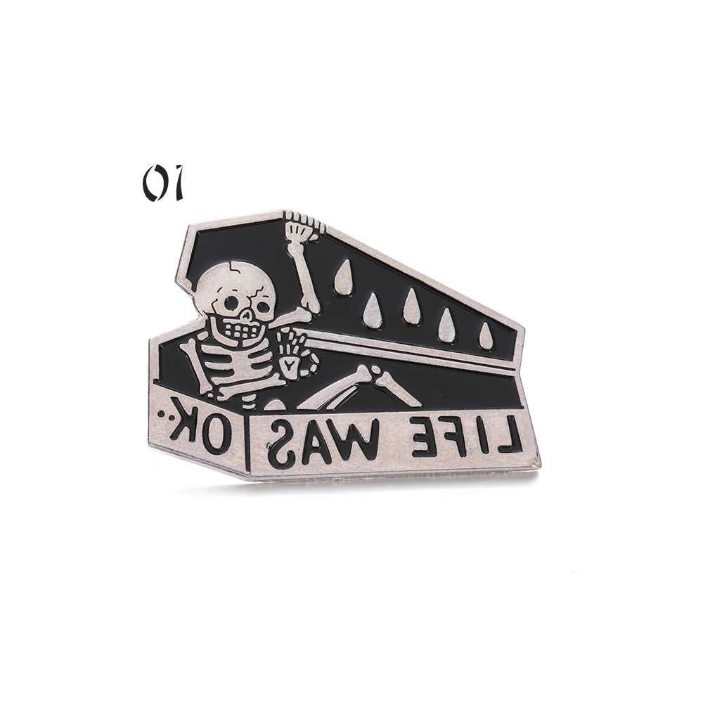 """1 Pc Tengkorak Pins Trendi Pin dan Bros """"Hidup OK"""" Tengkorak Peti Mati Enamel Pin Lencana Bros Hitam skeleton Perhiasan"""
