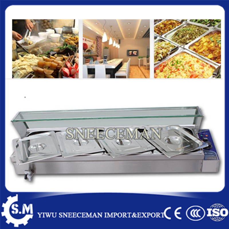 4pans Fast Food Restaurant Severy Counter Stainless Steel Food Warmer