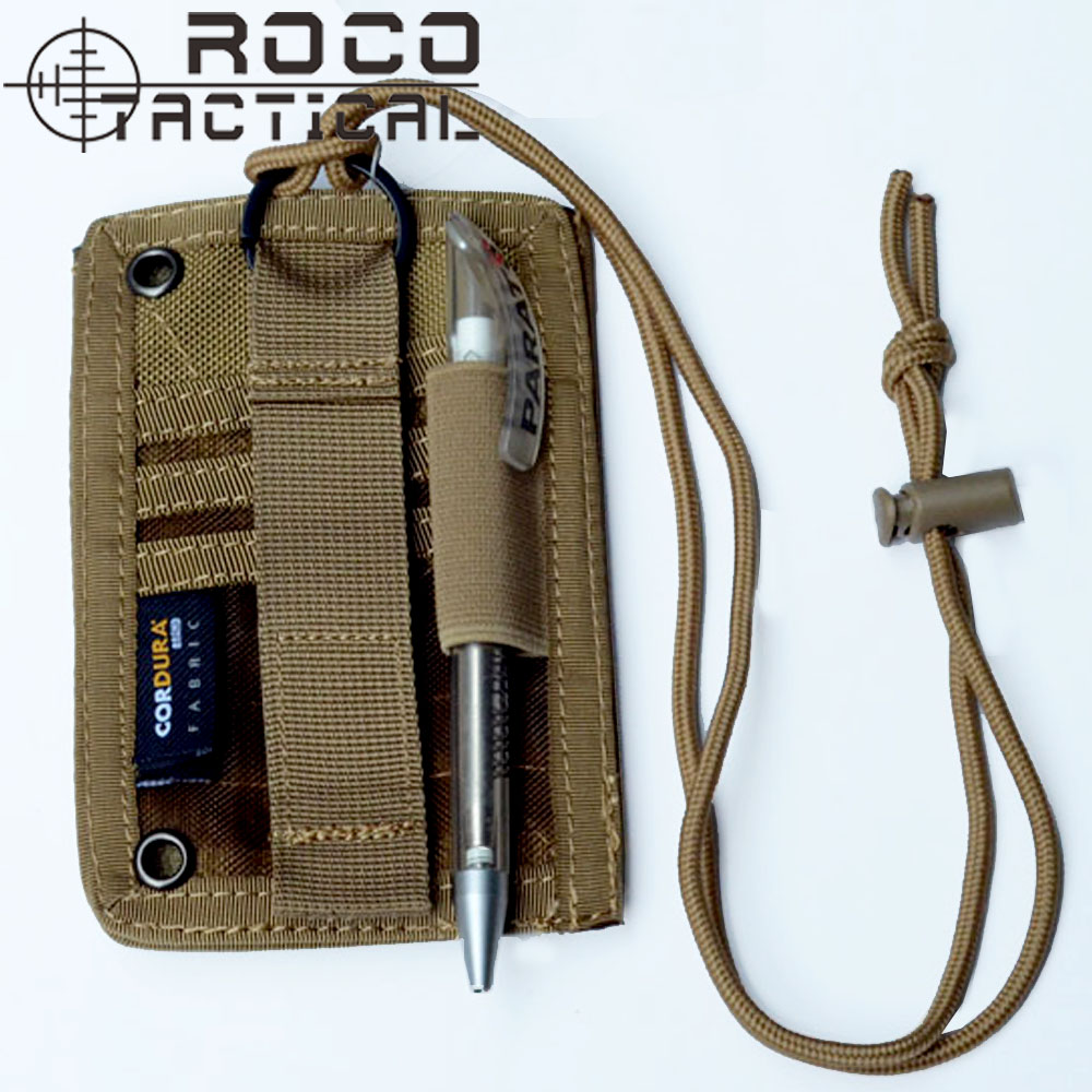 ROCOTACTICAL Tactical Neck Badge ID Credit Card Pen Pouch Holder Combat Army Sports Necklace Badge Holder with Neck Lanyard excellent elite spanker military vertical id card credit card tactical holder two in one with adjustable