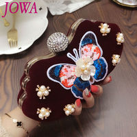 2019 New Design Women's Evening Bags Chinese Style Mini Handbag Retro Butterfly Clutches Velvet Totes Vintage Wine red Party Bag