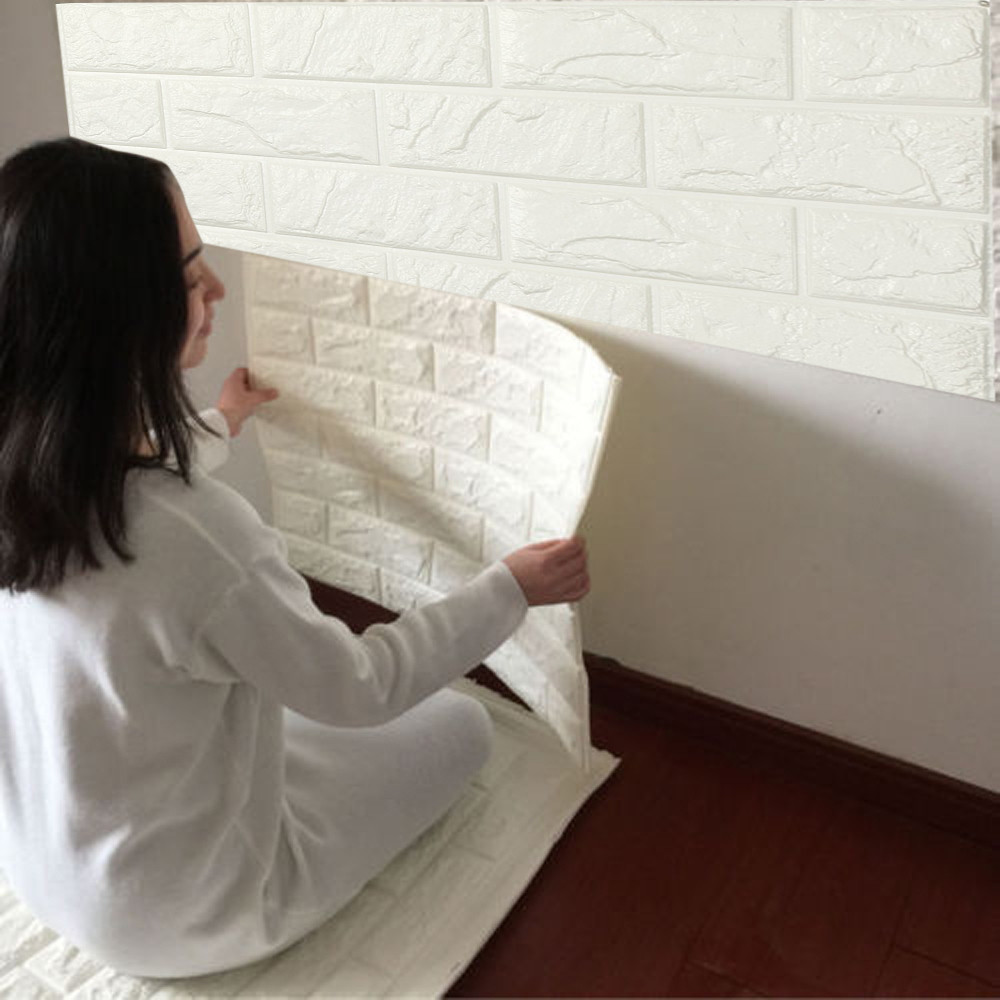 60 X 60 X 0.8cm PE Foam 3D Wallpaper Safty Home Decor Wallpaper DIY Wall Stickers Living Roomg Wall Decor Embossed Brick Stone ...