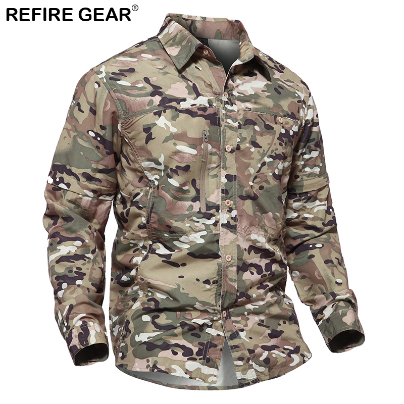 Refire Gear Removable Outdoor Camouflage Shirt Men Summer Detachable Sleeve Shirts Spring Hiking Camping Breathable Shirt