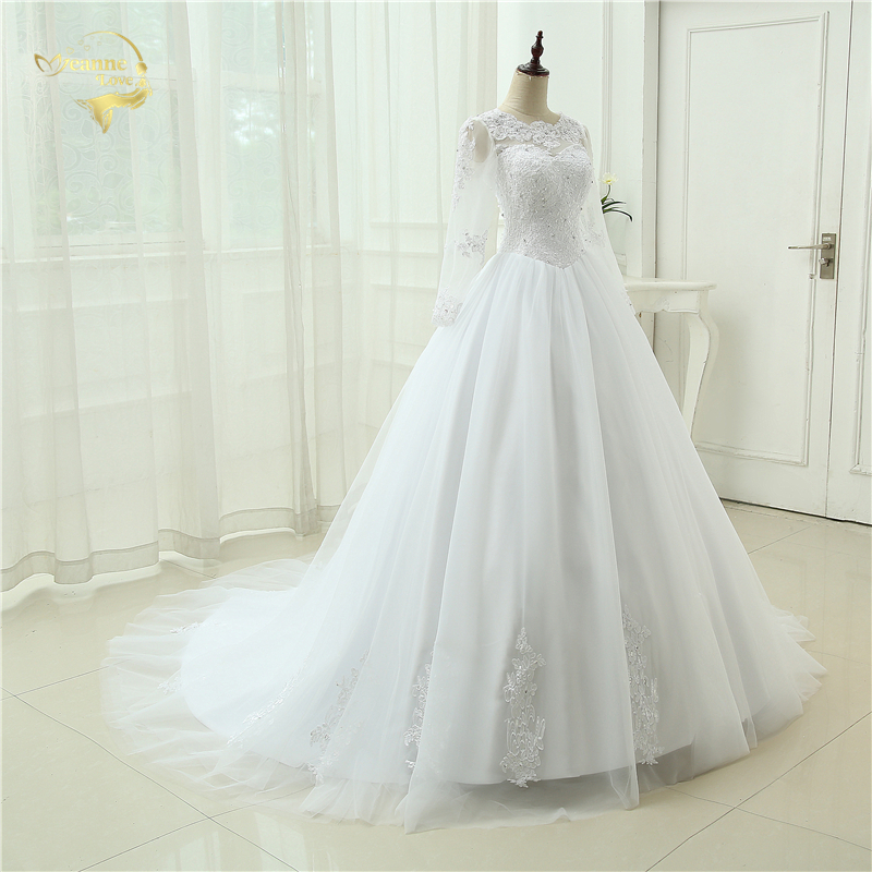 Vestido De Noiva See Through Casamento A line With Long Sleeves Robe De Mariage Bridal Gown Lace Wedding Dresses 2015 OH90993