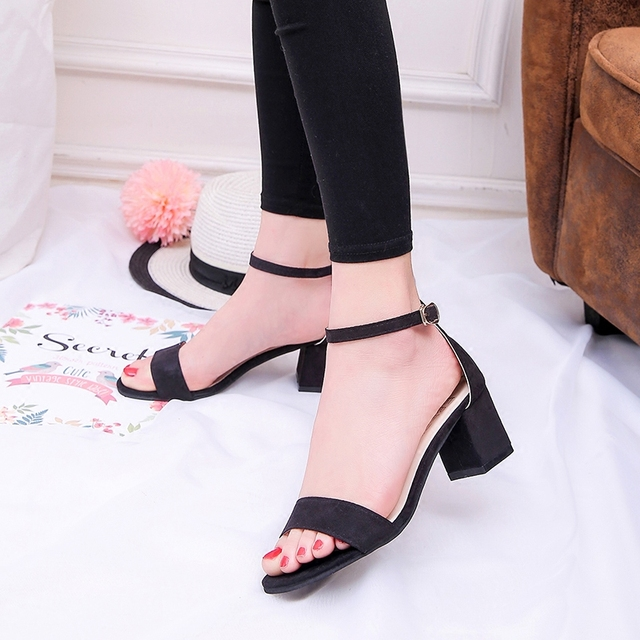 798ce1da642 Suede women 5cm high heels shoes square heel Female nubuck lady open toe  Footwear Ankle strap woman Peep Toe Sandals black gray
