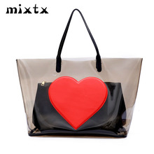 mixtx 2019 Transparent PVC Beach Handbag Lovely Heart Shoulder bag Women Hot Sale Jelly Clear Totes Large capacity Composite Bag mixtx 2018 transparent pvc handbag beach shoulder bag women new trend tote hot sale jelly color plastic clear bag large capacity