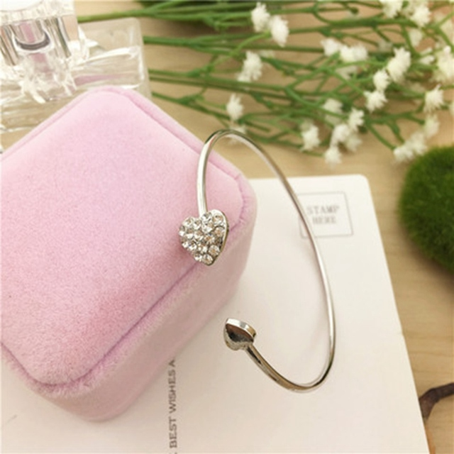 2019 Hot New Fashion Adjustable Crystal Double Heart Bow Bilezik Cuff Opening Bracelet For Women Jewelry Gift Mujer Pulseras 7g 5