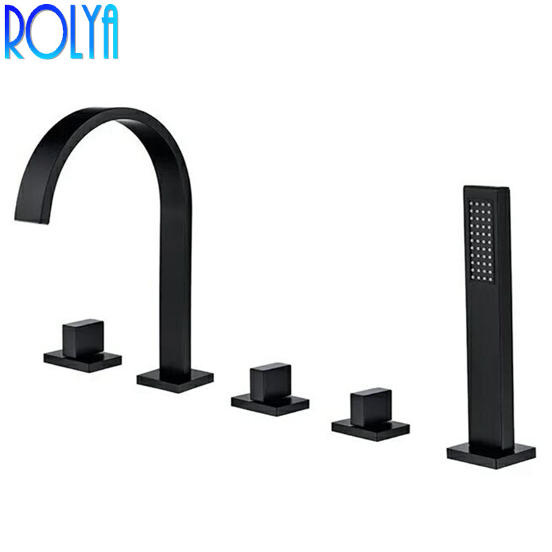 Rolya Black Roman Tub Faucet Deck Mounted 5 Hole Bathtub Faucet Mixer Tap with Hand shower