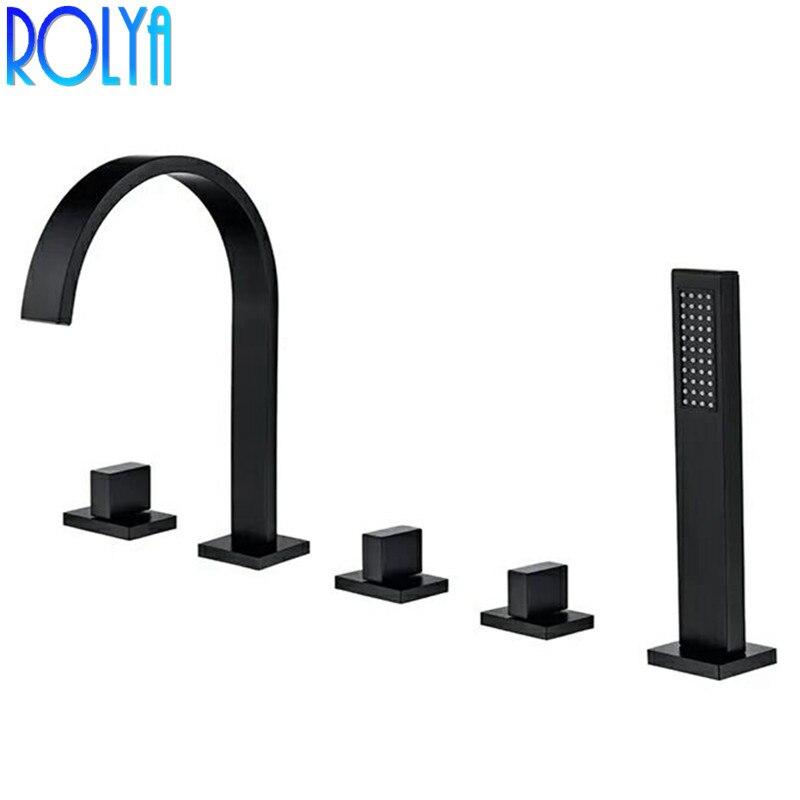 Rolya noir Roman baignoire robinet pont monté 5 trou baignoire robinet mitigeur avec douchette 2018 nouvelle Promotion