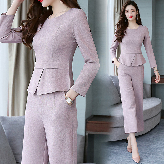 6c034948475 Large Big Size Two Piece Set Top And Pants Office Work Woman Suit Year-old  Female Costume Conjunto Feminino Women s Costumes