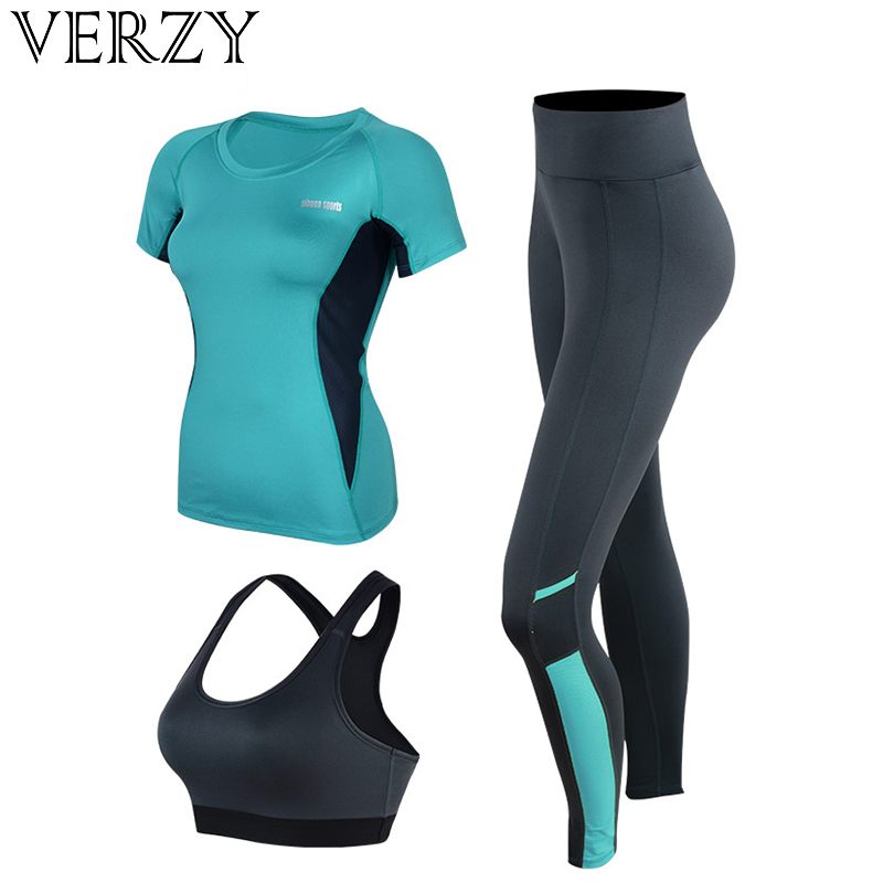 Sport Suit Women Fitness Jogging Pants Gym Clothing Running Tights Quick Dry Yoga Crop Top&Gym Shirts&Leggings 3 Pieces Yoga Set women 2 piece yoga set gym fitness clothes floral print bra long pants running tights jogging workout yoga leggings sport suit