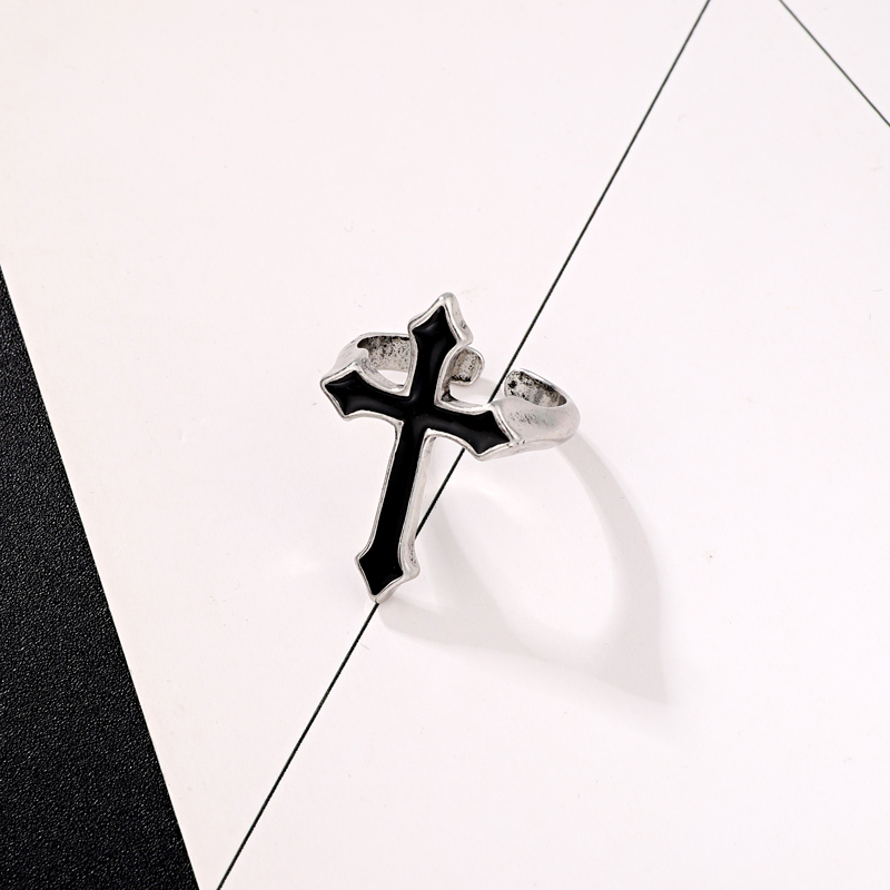 GEOMEE 1PC Vintage Black Big Cross Open Ring For Women Party Jewelry Men Trendy Gothic Metal Color Finger Ring Anillo R58-1