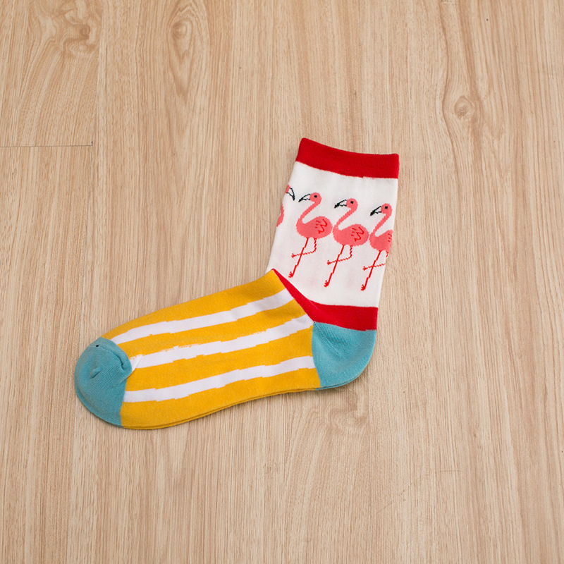 5 styles cute colorful flamingo pattern cotton crew socks women striped plaid girls harajuku casual funny cute kawaii Novelty