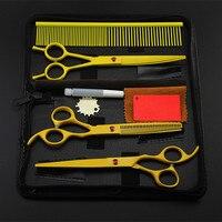 4 kit professionele japan geel pet 7 inch scharen hondentondeuse schaar snijden dunner kapper bag kappersscharen