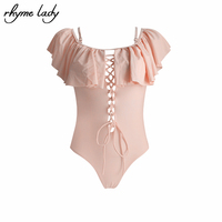 Rhyme Lady Swimsuit One Piece 2017 S M L XL Women One Piece Suits Ruffle Beach