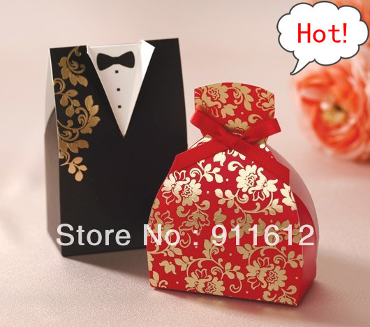 10Chinese Style Bride Groom Wedding Favor Boxes Gift Box Candy - Factory-Price Favors store