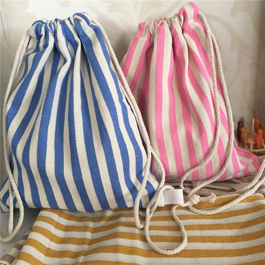 YILE Cotton Canvas Drawstring Backpack Book Shoes Bag Blue Pink Yellow Stripe B8512b