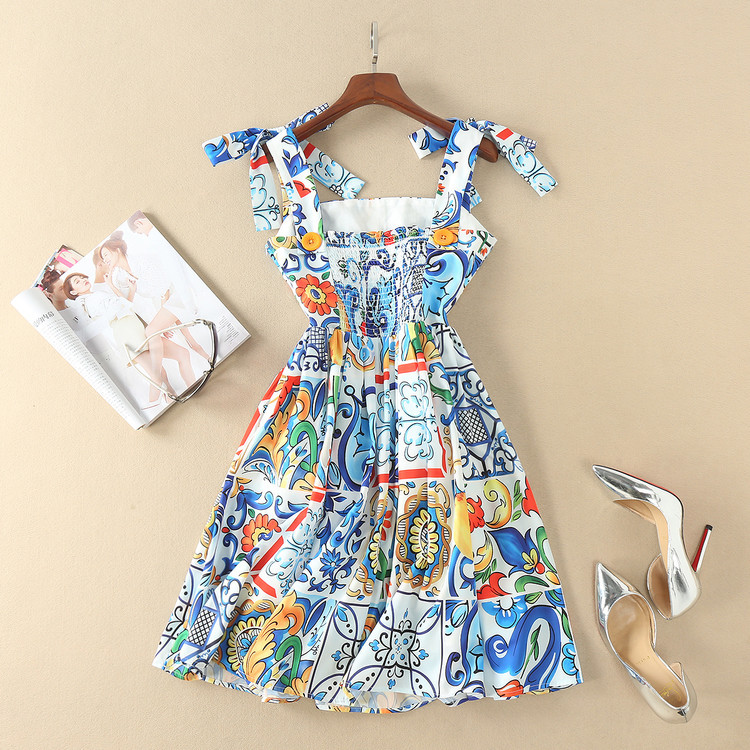 Cute! blue porcelain tile patterns print dress bow tie spaghetti strap fit and flare mini summer dresses new 2018 spring brand fawn print christmas fit and flare mini dress