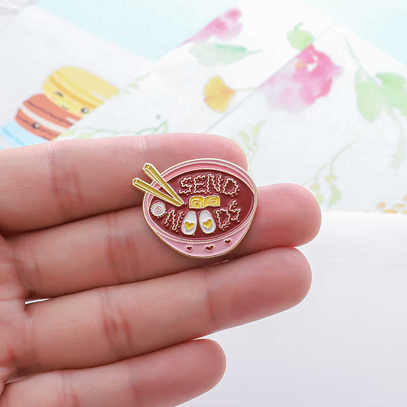 Japonês ramen pino enviar amor macarrão rosa tigela esmalte pinos broches feminino delicioso alimento lapela pino crachá bonito estilo menina jóias