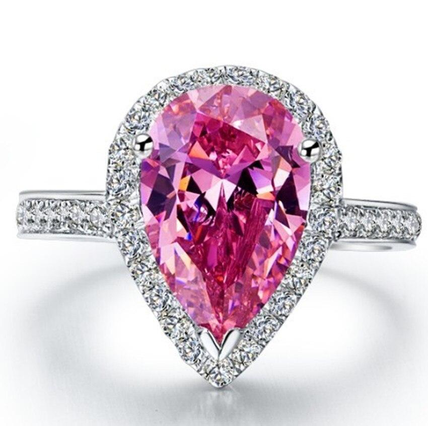 Груша огранка 2 карат розовые синтетические бриллианты кольцо капли воды Свадебные стерлингового серебра ювелирные изделия юбилей розовое кольцо 925 подарок