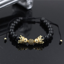 Wholesale Fashion Men Womens 8MM Micro Pave CZ Copper Ball & Crown Charm Balack Onyx Stone Beads Braided Macrame Bracelet