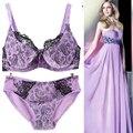 Sexy Push Up Tamanho Grande 34-42 B C D Copo Mulheres Rendas Conjuntos de sutiã conjunto de lingerie Azul Floral Intimates Roupa Interior Para as mulheres Frete grátis