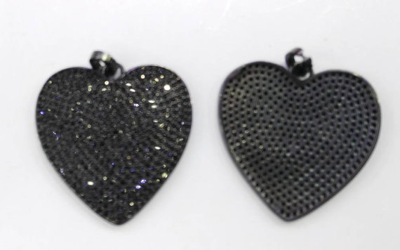 Top Quality 6pcs 30mm Micro Pave Diamond Heart Pendant, Pave Black Diamond CZ Pendant, Heart Charm,Heart Ring Jet Gunmetal beads 12pcs 15 20mm pave micro cz crystal pave bling beads white silver crystal cz bead black gunmetal cube square box brick charm jew