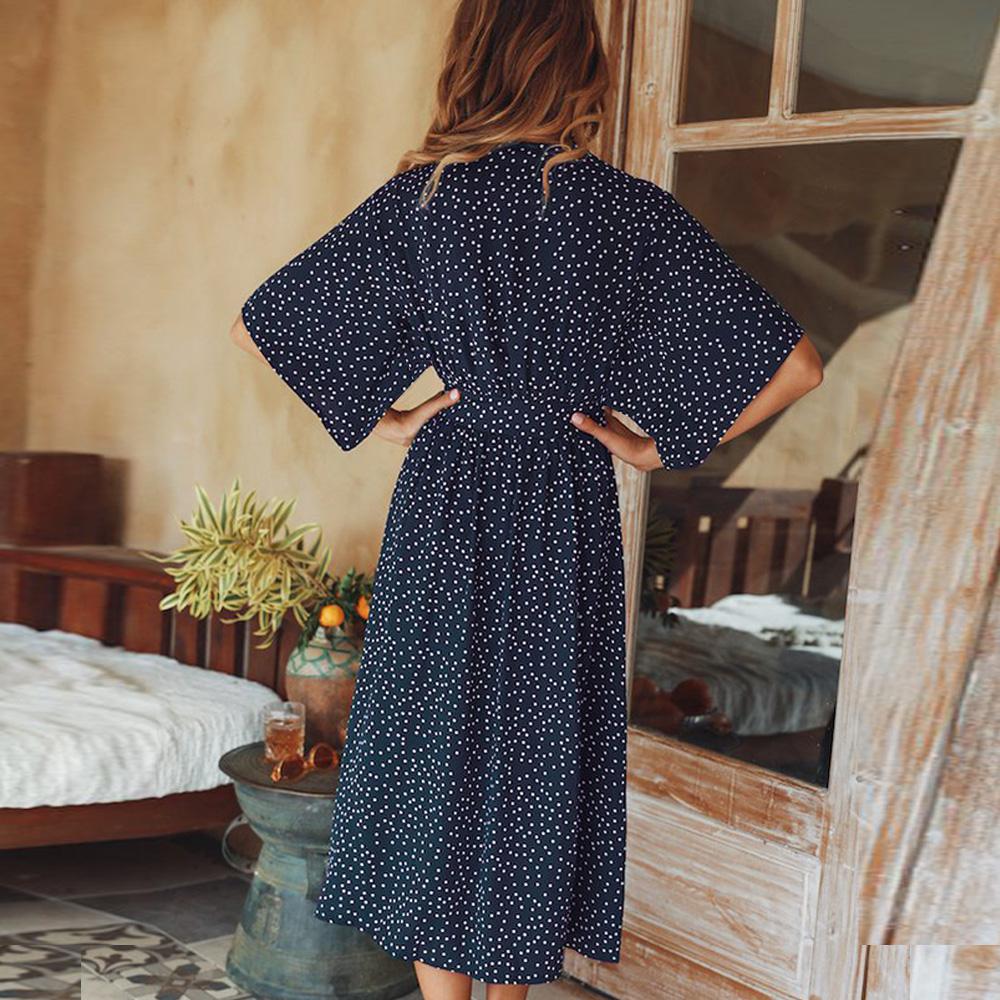 women summer casual bohemian dress Women Short Sleeve V Neck Wrap Boho Dress 9