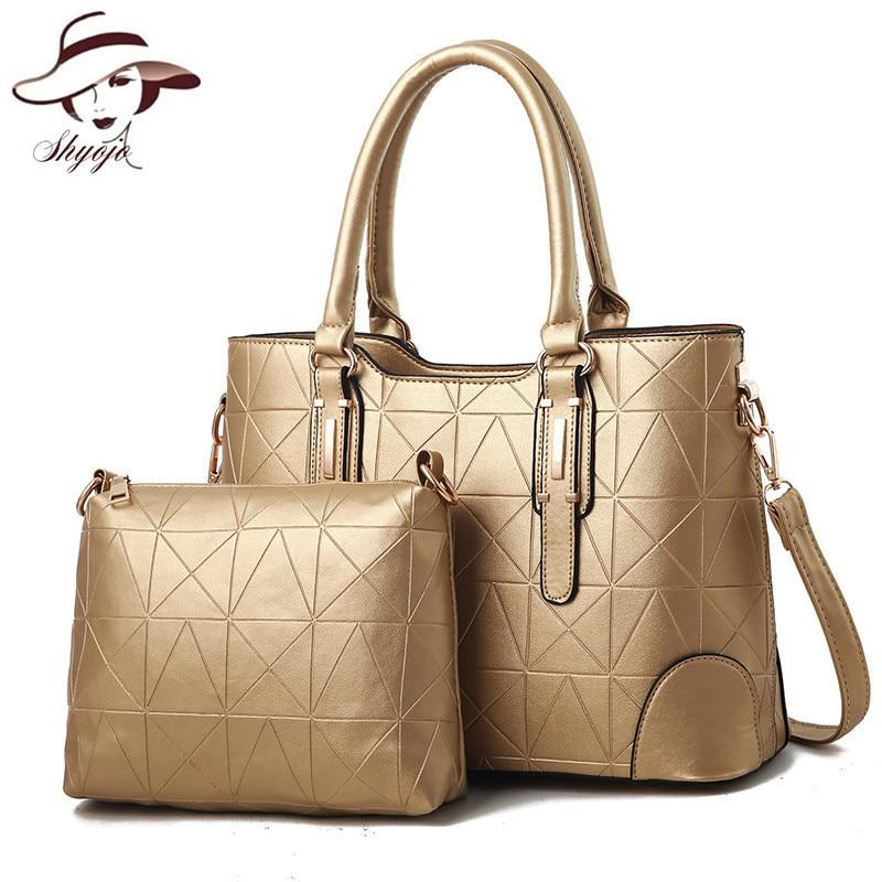 2018 New Arrival Vintage Fashion Women Messenger Handbag 2 Bags/set Designer Handbags High Quality PU Leather Bags Shoulder Tote