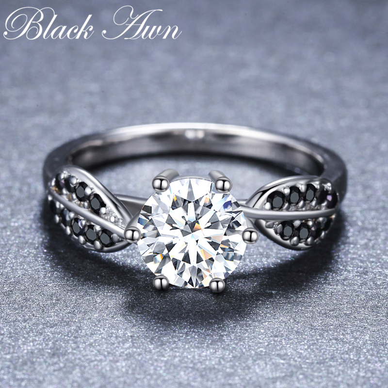 2019 New Romantic 925 Sterling Silver Fine Jewelry Engagement Black Spinel Flower Engagement  Ring For Women Anillos Mujer G080