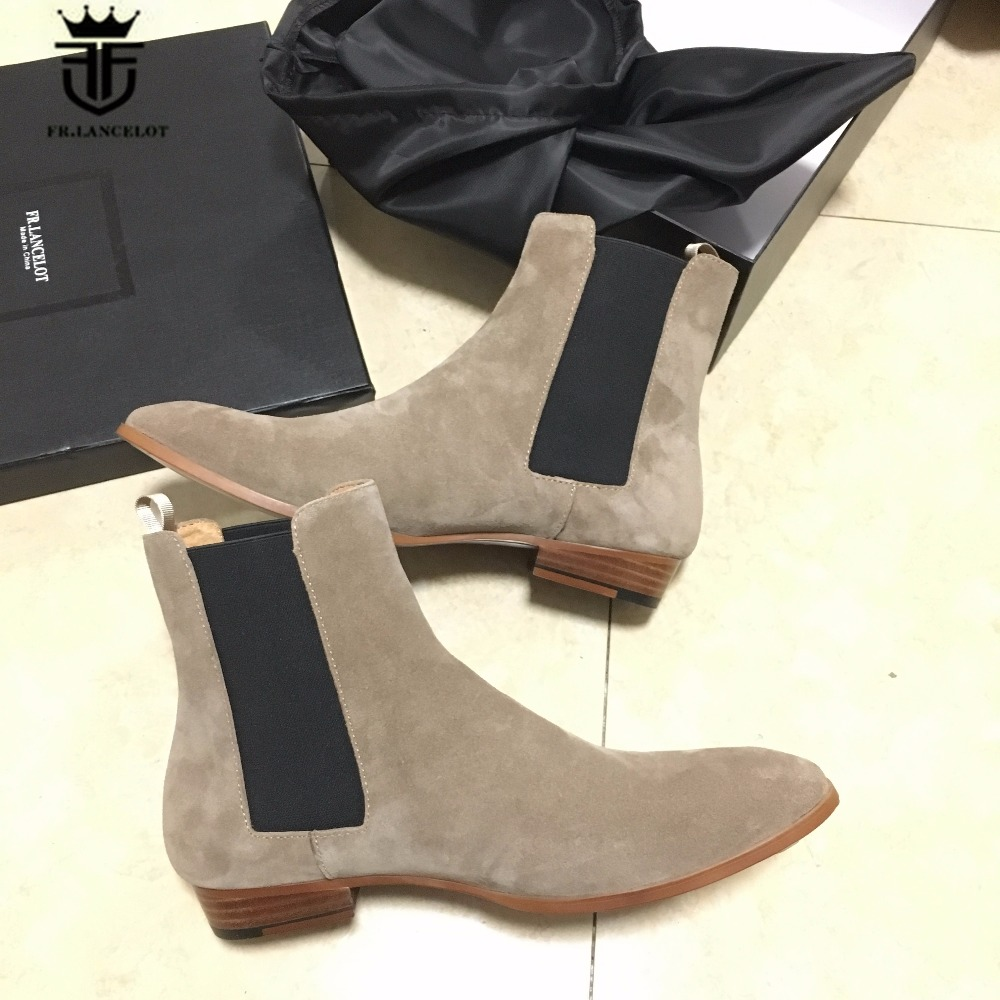 2018 New Genuine Beige Suede Leather Tan Chelsea Boots Kanyest West Street Quality Slip-On Genuine Leather wedge Cowboy Boots new top grade gift pure tan wooden type h chun tan mu shu h kuan