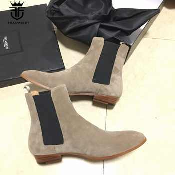 New Genuine Beige Suede Leather Tan Chelsea Boots Kanyest West Street Quality Slip-On Genuine Leather wedge Cowboy wyatt Boots - Category 🛒 Shoes