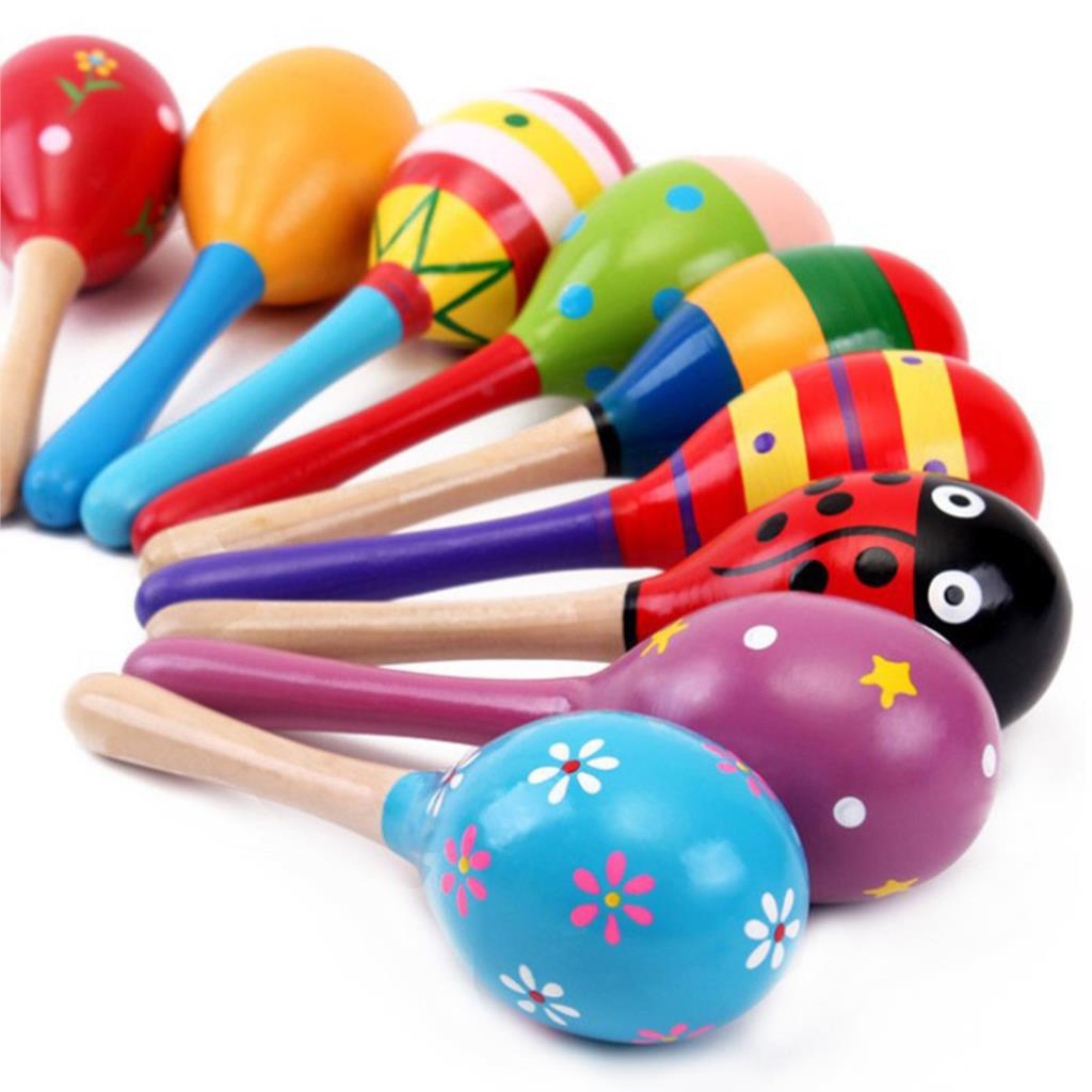 1 Piece Random Color New Colorful Cute Baby Kids Sound Music Gift Toddler Rattle Musical Wooden Toys Handbell