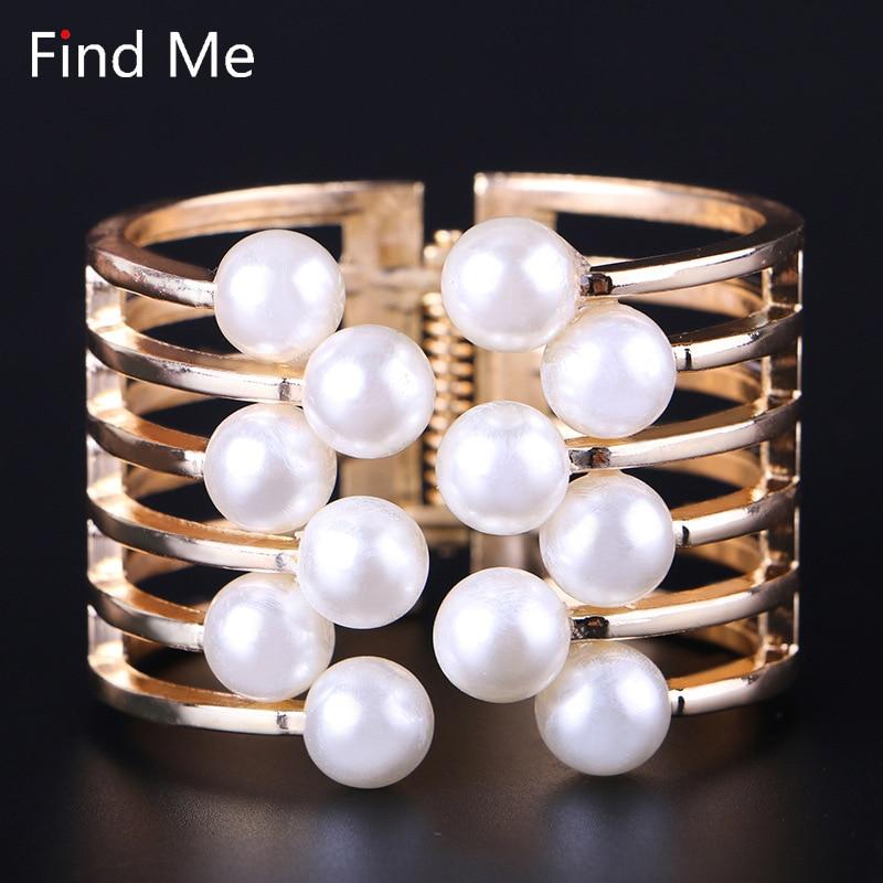 Find Me 2018 fashion Vintage ethnic gold plating Cuff Bracelet boho multilayer Imitation pear bracelets bangle for women Jewelry