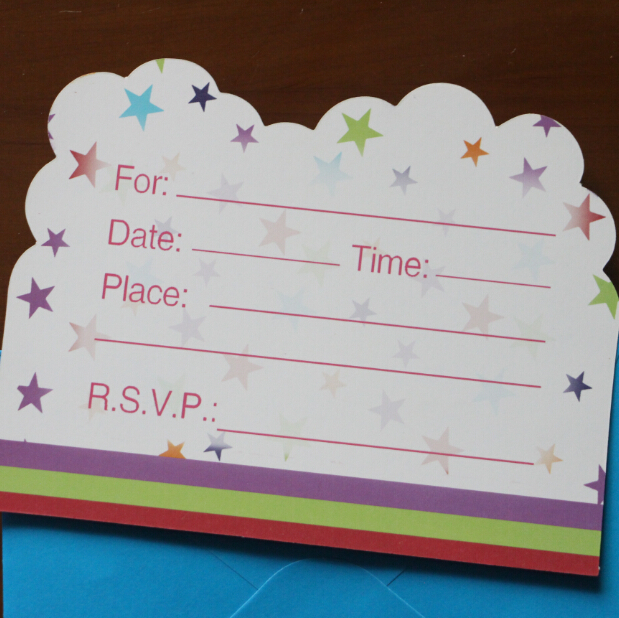 12pcs cards 12pcs Envelope Shape Happy Birthday Theme Party Invitation Card Kids Baby Birthday Party Decoration Supplies in Cards Invitations from Home Garden