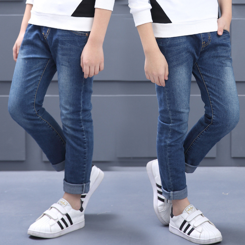 Boys Jeans Teenager Autumn Long Denim Pants Casual Solid Trousers Children Clothing Kids Teens Boys Clothes 10 11 12 13 14 15 16 afs jeep mens autumn jeans men casual straight denim trousers loose plus size 42 cowboy jeans male man clothing botton