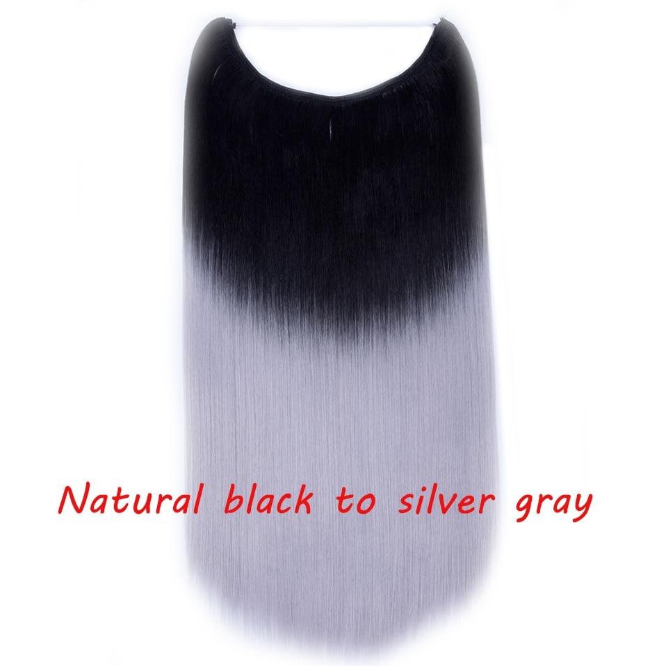 S-noilite 20 дюймов невидимый провод без заколки для волос Расширения секретная Рыбная линия шиньоны шелковистые прямые настоящие натуральные синтетические - Цвет: 1BH3904