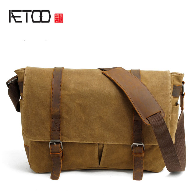 autentico 248d1 aae53 US $105.3  AETOO Olio Cera borsa di tela borsa a tracolla impermeabile  grande uomo messenger con borsa del computer in pelle in AETOO Olio Cera  borsa ...