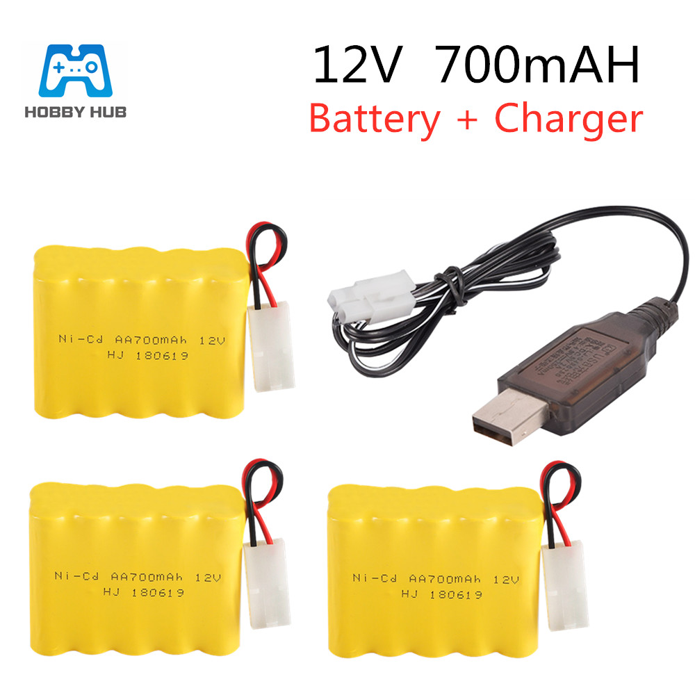 2/3x rechargeable <font><b>12v</b></font> 700mah NI-CD <font><b>battery</b></font> <font><b>pack</b></font> for RC boat car electric toys lighting tank <font><b>battery</b></font> whith 5in1/USB cable nicd <font><b>aa</b></font> image