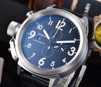 Парнис 50 мм матовый 316L нержавеющая сталь мужские часы Полнофункциональный хронограф японский кварцевый механизм кожаный ремешок