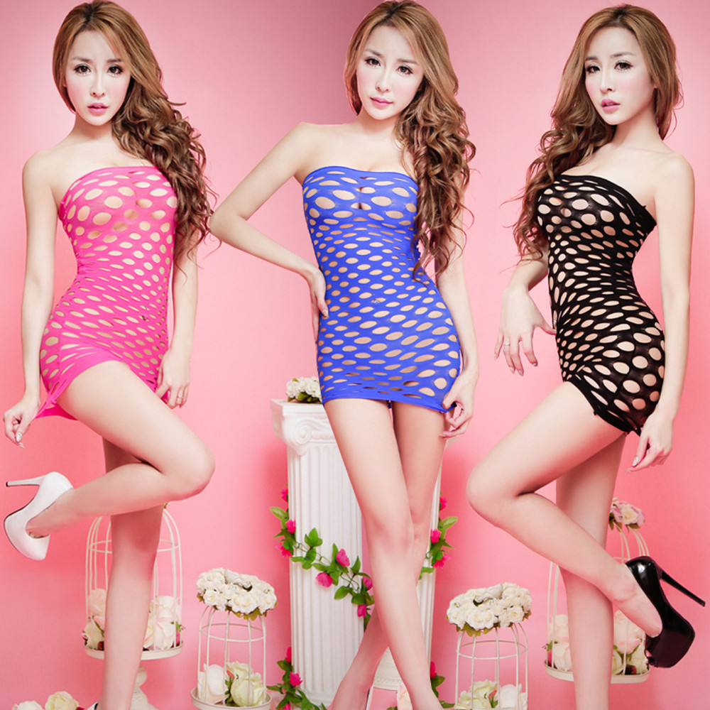 02dec8bdda 2017 Women Hot Sexy Lingerie Strapless Hollow Out Fishnet Suit Package Hip  Mini Bodycon Dress Sexy Costumes Underwear Baby Dolls