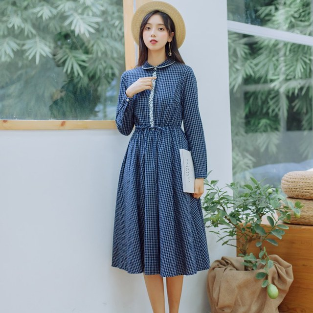 204be1c954f Mori Girl Autumn Spring Women Long Dress Peter Pan Collar Navy Blue Plaid  Femme Robe Longo Cotton Elegant Embroidery Midi Dress
