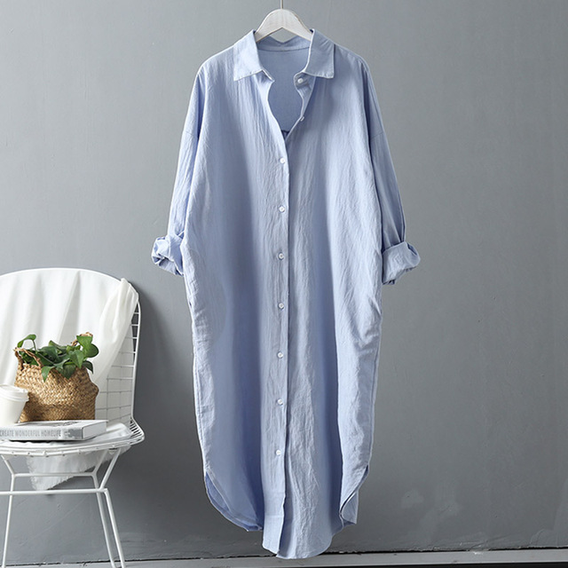 VogorSean Cotton Women Blouse Shirt 2019 Spring Summer Linen Cotton Womans Plus size Long section Casual Tops White/Blue 2