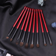Professional 9Pcs Eye Makeup Brush Set Natural Pony Hair Eyeshadow Smoky Blending Eyebrow Buffer Make up Pencil Concealer Brush