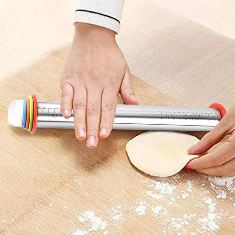 New 17 inch Adjustable Stainless Steel Rolling Pin With Dough Mat Dough Roller with 4 Removable Adjustable Kitchen Tools